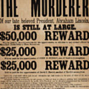 Lincoln Assassination Reward Poster Poster