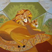 Lion And Lioness Poster