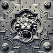 Lion Head Door Knocker Poster by Adam Romanowicz