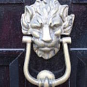 Lion Head Door Knocker Poster
