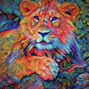 Lion In Burst Poster