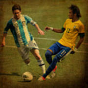 Lionel Messi And Neymar Junior Vintage Photo Poster by Lee Dos Santos