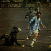 Lionel Messi Breaking Raphael Cabrals Ankles  Poster by Lee Dos Santos