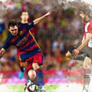 Lionel Messi  Fights For The Ball Poster