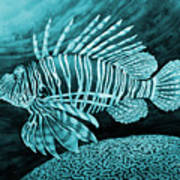 Lionfish On Blue Poster