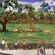 Lions At The Zoo Poster