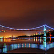 Lions Gate Bridge At Night 2 Poster
