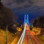Lions Gate Bridge Light Trails Poster