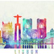 Lisbon Landmarks Watercolor Poster Poster