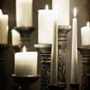 Lit Church Candles Poster