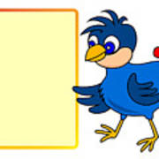Little Bird With Message Board Poster