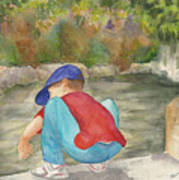 Little Boy At Japanese Garden Poster