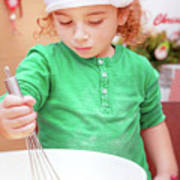 Little Boy Making Christmas Cookies Poster