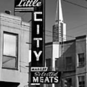 Little City Market North Beach San Francisco Bw Poster