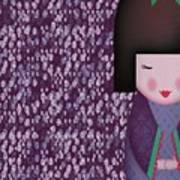 Little Geisha Purple Poster