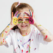 Little Girl Covered In Paint Making Funny Faces. Poster