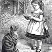 Little Girl Gives Her Cat Its Dinner Poster