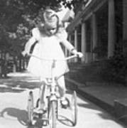 Little Girl On Vintage Bike Poster