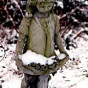 Little Girl Sculpture In The Snow Poster