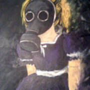 Little Girl Wear Gas Mask Poster