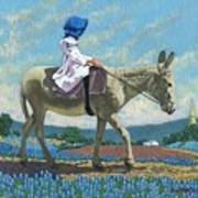 Little Girl With A Blue Bonnet Poster