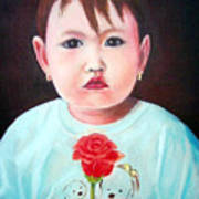 Little Girl With Rose Poster