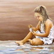 Little Girl With Sea Shell Poster