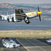 P51 Mustang Little Horse Gear Coming Up Friday At Reno Air Races 5x7 Aspect Poster