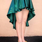Ameynra Fashion Satin High Low Skirt, Dark-green Poster