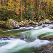 Little Pigeon River In Fall In The Smokies Poster