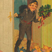 Little Pigs Running In With Good Luck And Boy Poster
