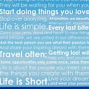 Live Life Poster by Brad Scott