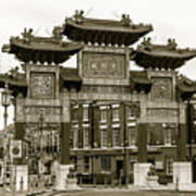 Liverpool Chinatown Arch, Gate Sepia Poster