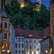 Ljubljana Night Scene - Slovenia Poster