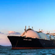 Lng Carrier Grand Aniva At Sunset On The Roads Of The Port Of Nakhodka.  Poster
