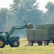 Loading Hay At Dusk Poster