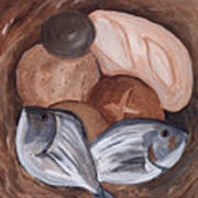 Loaves And Fishes Poster by Chelle Fazal