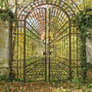 Locked Iron Gate In The Autumn Park.  Poster