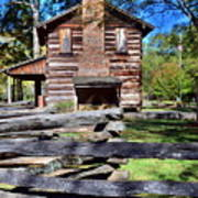 Log Cabin And Wooden Fence At Ninety Six National Historic Site 2 Poster