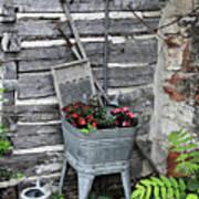 Log Cabin Garden Scene Poster