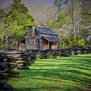 Log Cabin, Smoky Mountains, Tennessee Poster