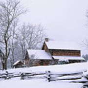 Log Cabin In Snow Poster