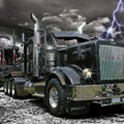 Logger On A Stormy Night Poster