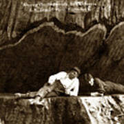 Logger With Ax On Springboard Loggers Sitting Inside Undercut  Circa 1890 Poster