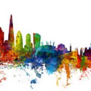 London And Warsaw Skylines Mashup Poster