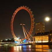 London Eye At Night Poster