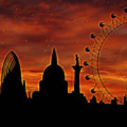 London Skyline At Dusk Poster