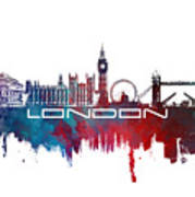 London Skyline City Blue Poster