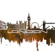London Skyline City Brown Poster