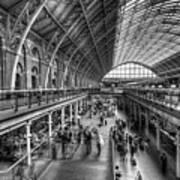 London St Pancras Station Bw Poster